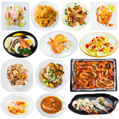 Collection of various dishes with shrimps