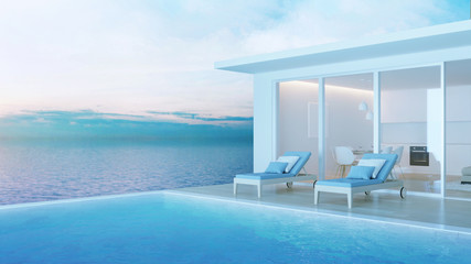 Interior of a villa with a swimming pool. House overlooking the sea. Night. Evening lighting. 3D rendering.