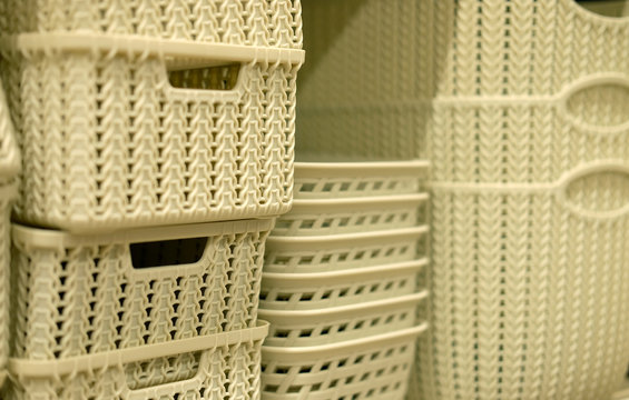 laundry baskets in the store