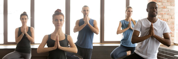 Horizontal image people during yoga session standing in Tree pose