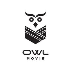 owl bird face with film strip logo icon vector template