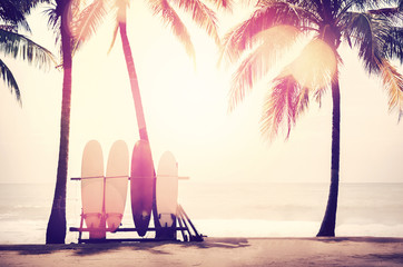 Wall Mural - Surfboard and palm tree on beach background.