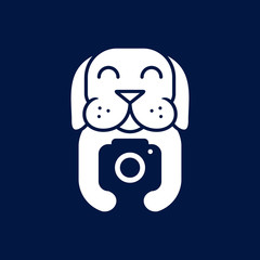 dog hold camera photography logo icon vector template
