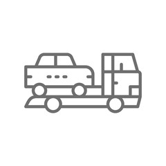 Tow truck, car evacuation line icon.