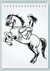 girl on the horse - vector