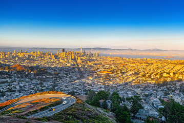 Fototapete - Panoramic view of the San Francisco city.