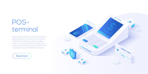 Internet banking concept in isometric vector illustration. Digital payment or online money transfer service. POS terminal for contactless smartphone pay. Website banner or webpage layout template.