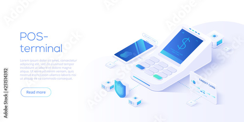 Internet banking concept in isometric vector illustration