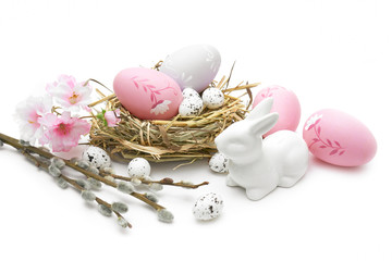 Obraz Wielkanoc jajka i ozdoby świąteczne na białym tle - fototapety do salonu