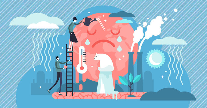 Climate change vector illustration. Flat global warming tiny person concept