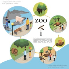 Isometric Zoo Colorful Template