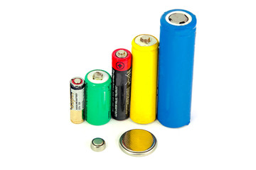 different types of batteries and accumulators color on white background, isolated