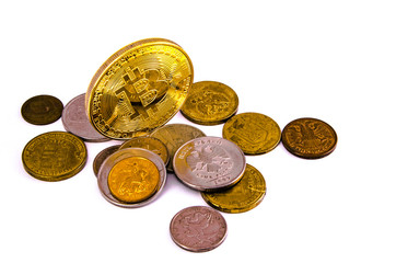 Bitcoin golden on top of other coins isolated on white background clipping path