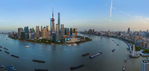 Fotobehang Aziatische Plekken Shanghai, China - May 23, 2018: Sunset view of the modern Pudong skyline in Shanghai, China