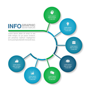 Vector infographic template for circular diagram, graph, presentation, chart, business concept with 7 options.