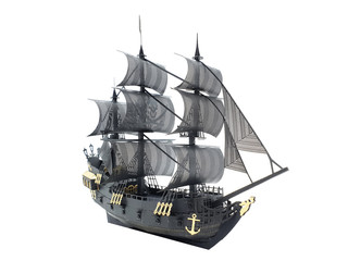Foto auf AluDibond Schiff Gold and Black Color Ship Classic Model with Pirate Flag Symbol in White Isolated Background