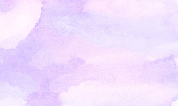 Vintage light purple watercolor paint hand drawn illustration with paper grain texture for aquarelle design. Abstract grunge violet gradient violet water color artistic brush paint splash background