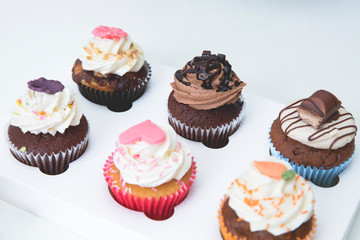decorated cupcakes with strawberry, vanilla, caramel and chocolate frosting
