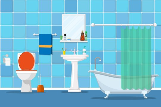 Interior of a bathroom with a toilet and accessories for washing and taking a shower. Vector illustration in flat style