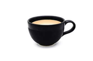 Black cup with coffee on white background