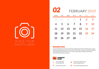 February 2019. Desk calendar design template with place for photo. Week starts on Monday. Vector illustration