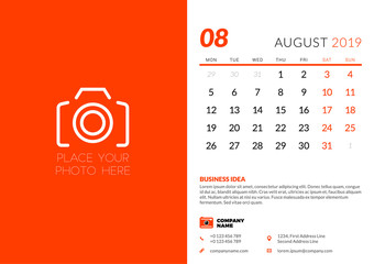 August 2019. Desk calendar design template with place for photo. Week starts on Monday. Vector illustration
