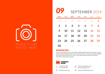 September 2019. Desk calendar design template with place for photo. Week starts on Monday. Vector illustration