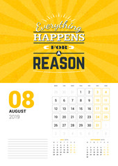 Wall calendar template for August 2019. Vector design print template with typographic motivational quote on yellow textured background. Week starts on Monday