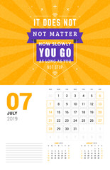Wall calendar template for July 2019. Vector design print template with typographic motivational quote on orange textured background. Week starts on Sunday