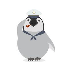 Cute sailor penguin vector
