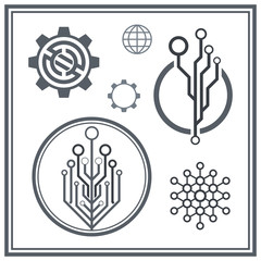 Set of technological icons and logos. Circuit elements.
