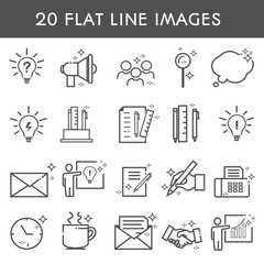 20 flat line icon. Simple icons about creative professions. Сoworking. Clock, letter, group of people, handshake. Vector illustration.