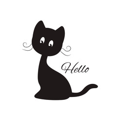 Cute black cat-slogan Hello. Print for t-shirts and textiles. Sticker. Vector illustration.