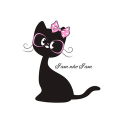 Cute black cat with a pink bow and glasses-slogan Hello. Print for t-shirts and textiles. Sticker. Vector illustration.