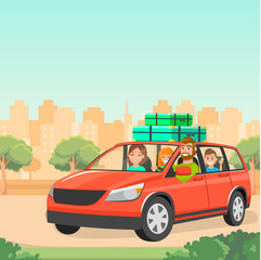 The family goes by car with suitcases. Travelling by car with children. Red family car. A trip out of town. Father, mother and children traveling by car. Vector illustration.