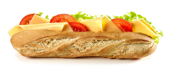 Photo on textile frame Snack baguette sandwich with cheese and tomato