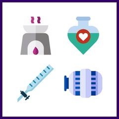 4 bottle icon. Vector illustration bottle set. motor and syringe icons for bottle works