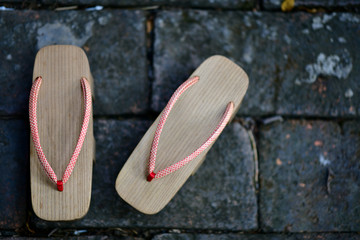 Wooden Geta Shoes, Japanese wooden clogs have space write words.