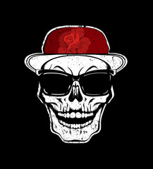 White skull in sunglasses and red cap with rose flower. T-shirt print, design for youth, teenagers.
