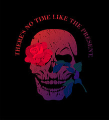 Colorful skull with red rose flower. T-shirt print, design for youth, teenagers.