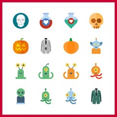 16 spooky icon. Vector illustration spooky set. pumpkin and grey costume icons for spooky works