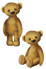 Two cute little classic teddy bears. Basis graphics for design