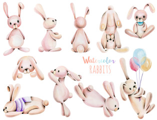 Collection, set of watercolor cute rabbits illustrations, hand drawn isolated on a white background