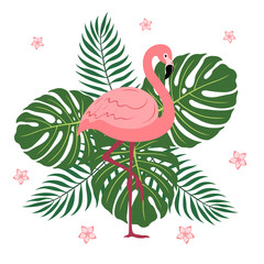 Flamingos with palm leaves and monsters in a flat style.