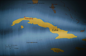 Map of Cuba on a metal background, texture