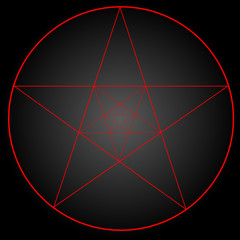 Pentagram or pentalpha or pentangle. dot work ancient pagan symbol of five-pointed star isolated illustration. Black work, flash tattoo or print design.