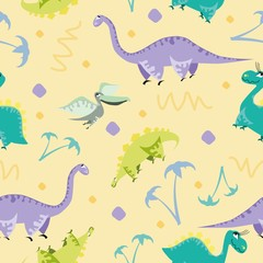 Seamless dinosaur pattern. Animal yellow background with colorful dino. Vector illustration.
