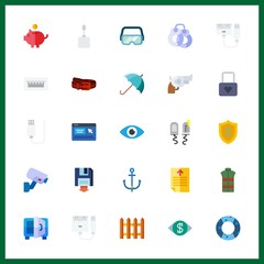 25 security icon. Vector illustration security set. usb and text file icons for security works