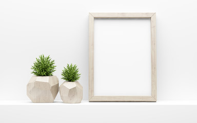 wooden picture frame mock up and green potted plants on white shelf. 3d illustration