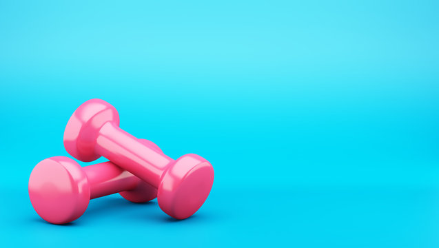 pink dumbbells isolated on blue background. 3d illustration